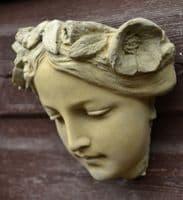 'Melody' Art Nouveau female face decorative wall plaque